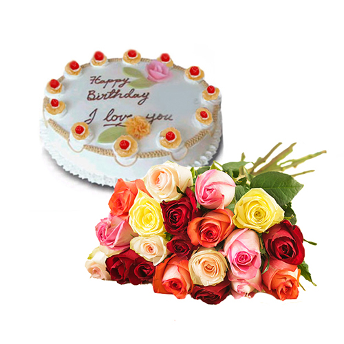 Awesome Mix Rose Bouquet And Cake Romania Floriladomiciliu Ro Fast Funny Birthday Cards Online Sheoxdamsfinfo